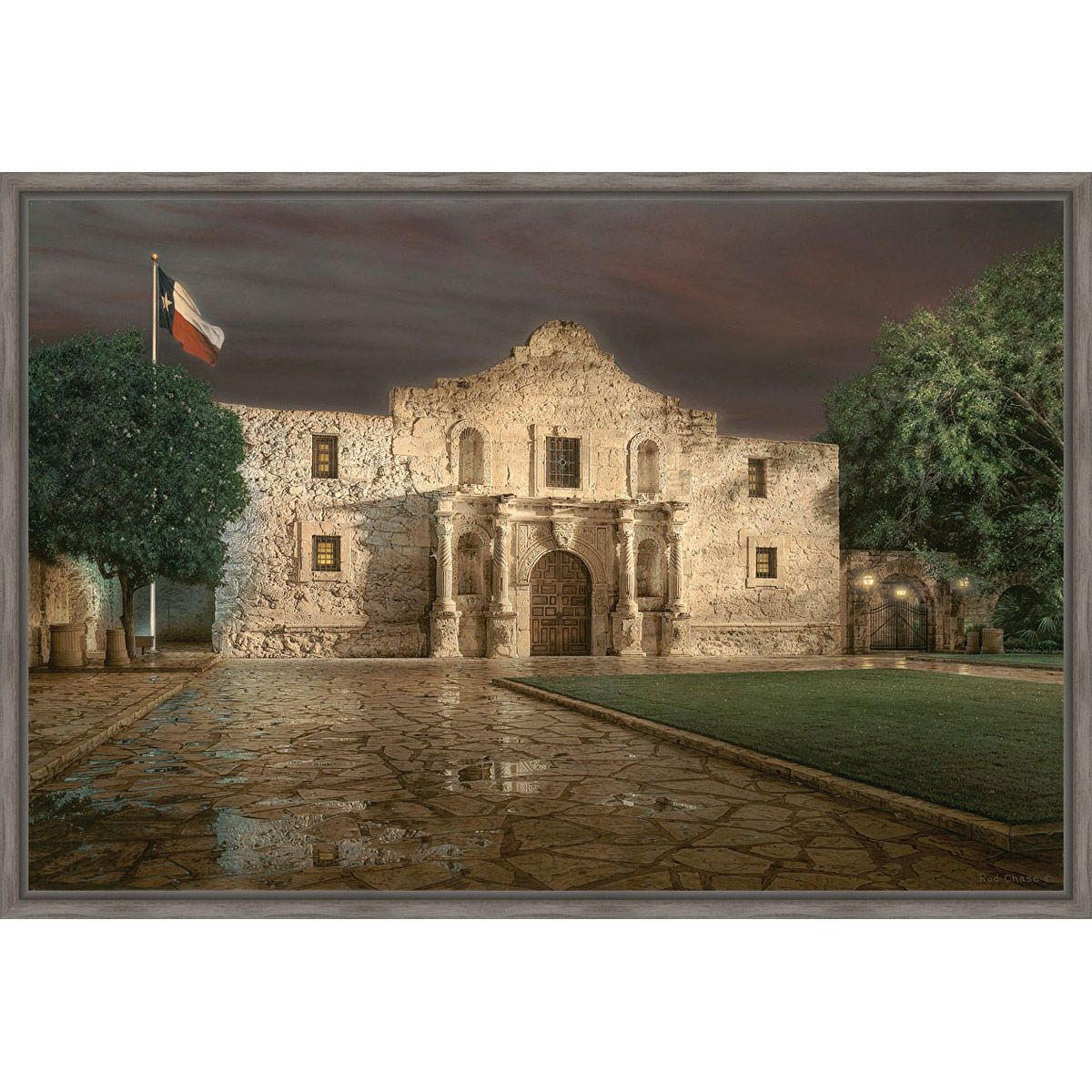 Battle of the Alamo Framed Canvas