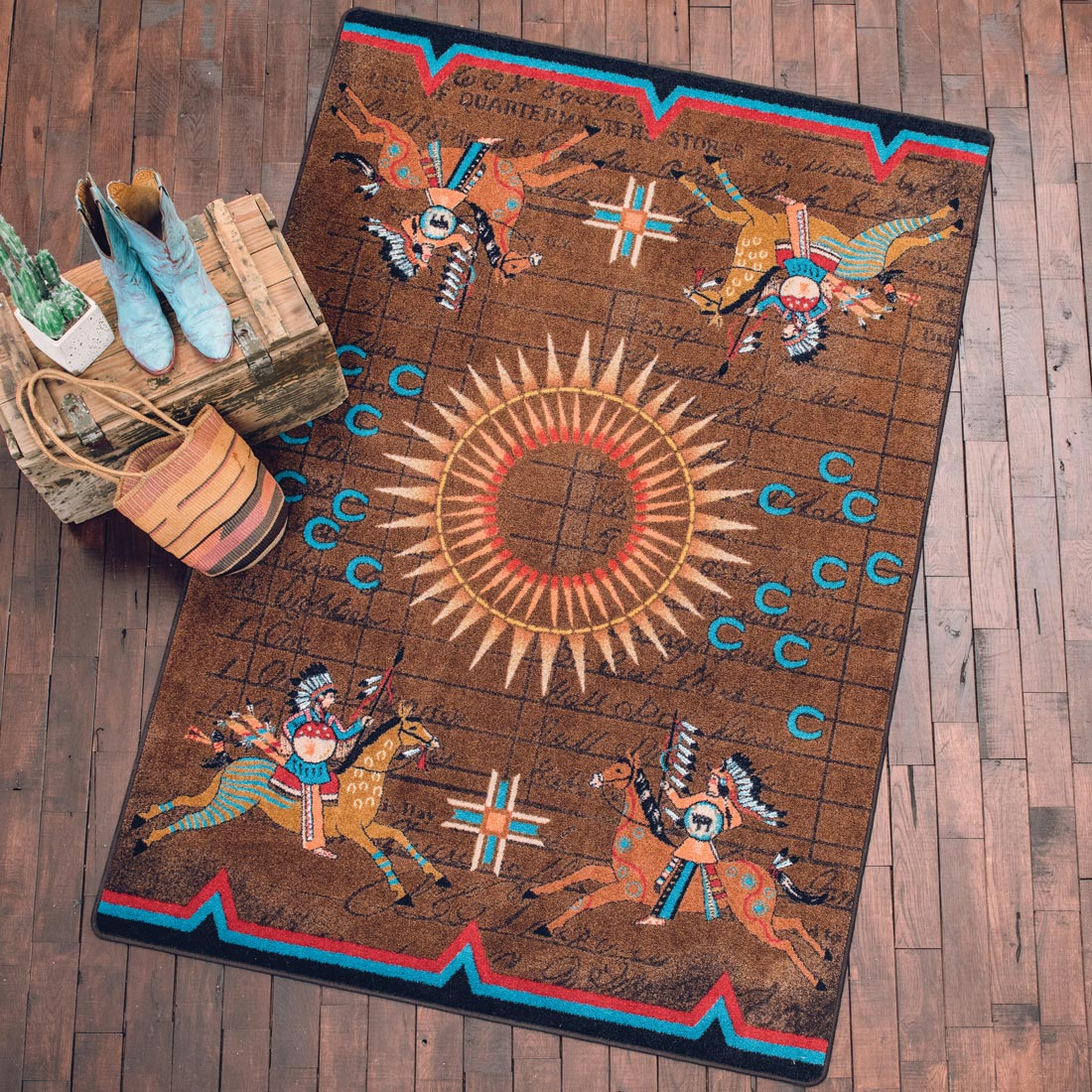 Battle Records Brown Rug - 2 x 8