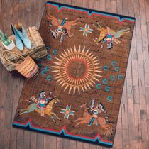 Battle Records Brown Rug - 8 Ft. Round