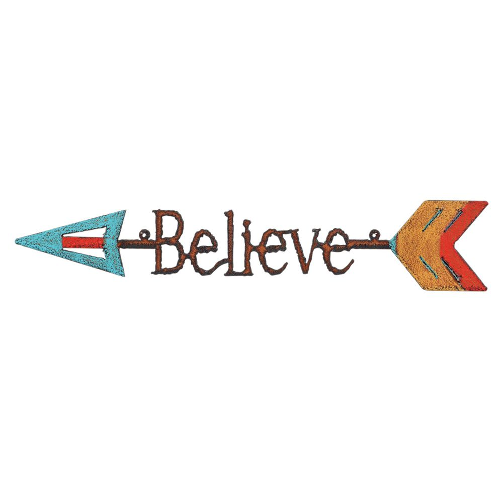 Believe Colorful Arrow Metal Wall Art