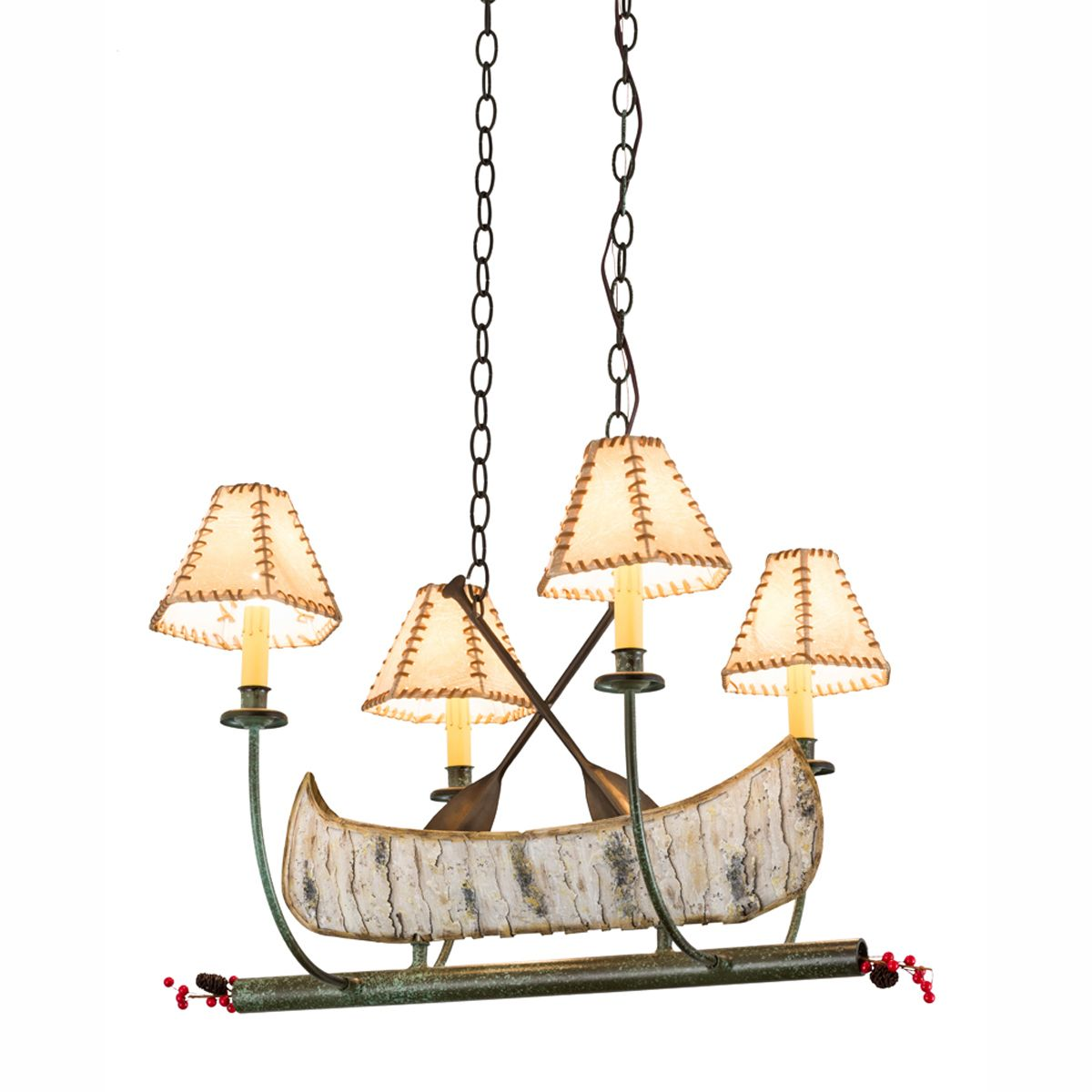 Birch Canoe with Rawhide Shades Chandelier
