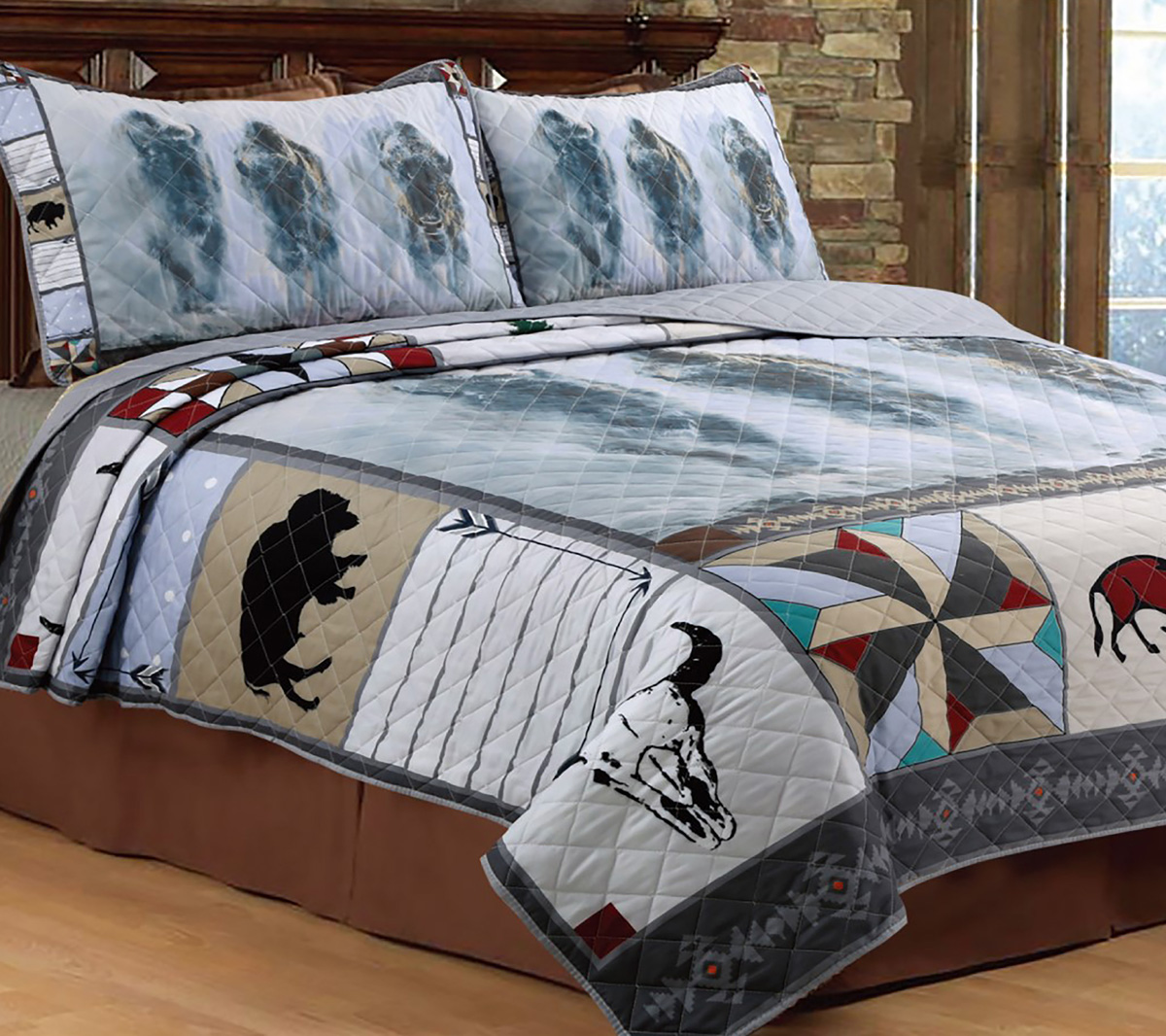 Bison in the Mist Quilt Set - Full/Queen