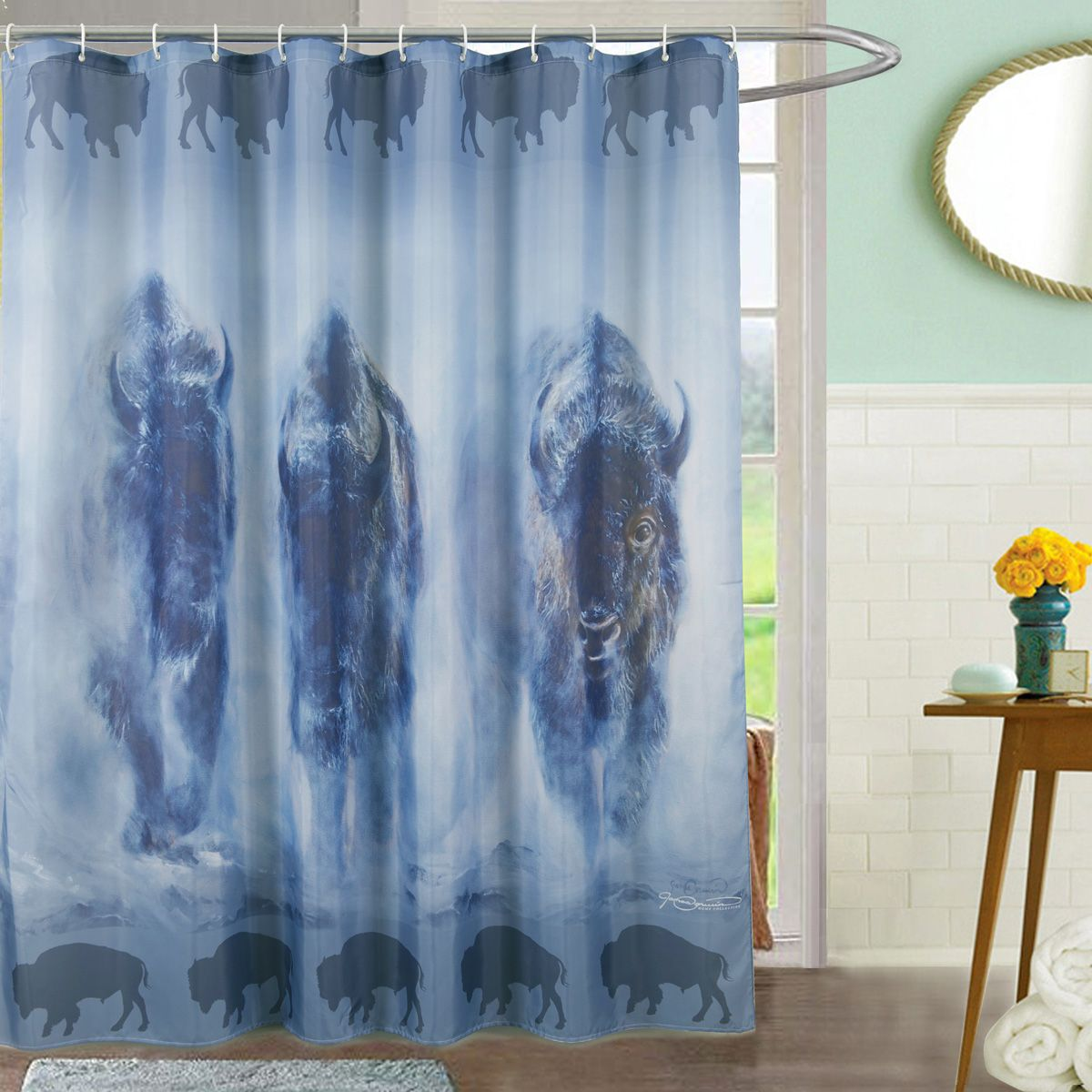 Bison in the Mist Shower Curtain