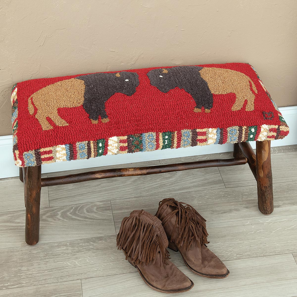 Bison Ridge Hooked Wool Bench