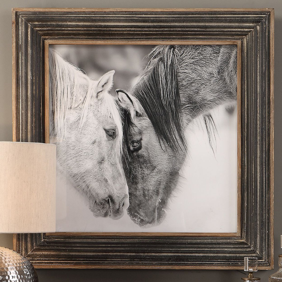 Black And White Horses Framed Print