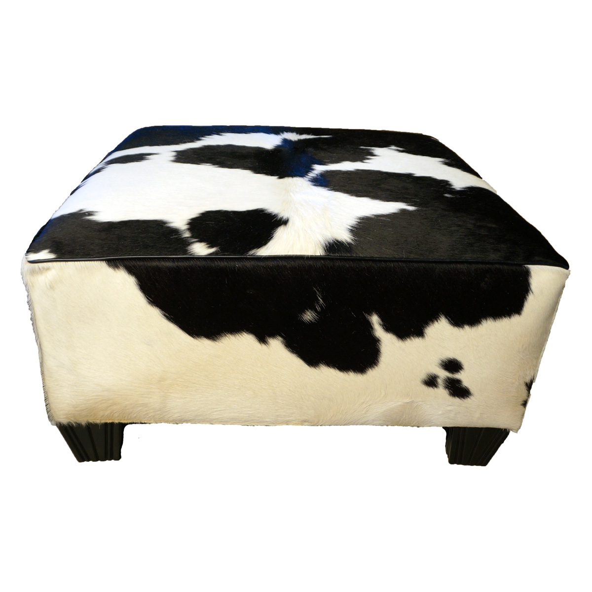 Black and White Solid Cowhide Ottoman
