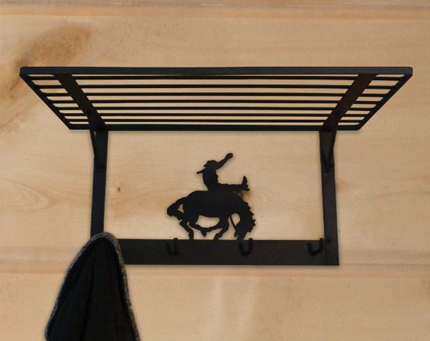 Black Bucking Bronco Coat Rack Shelf