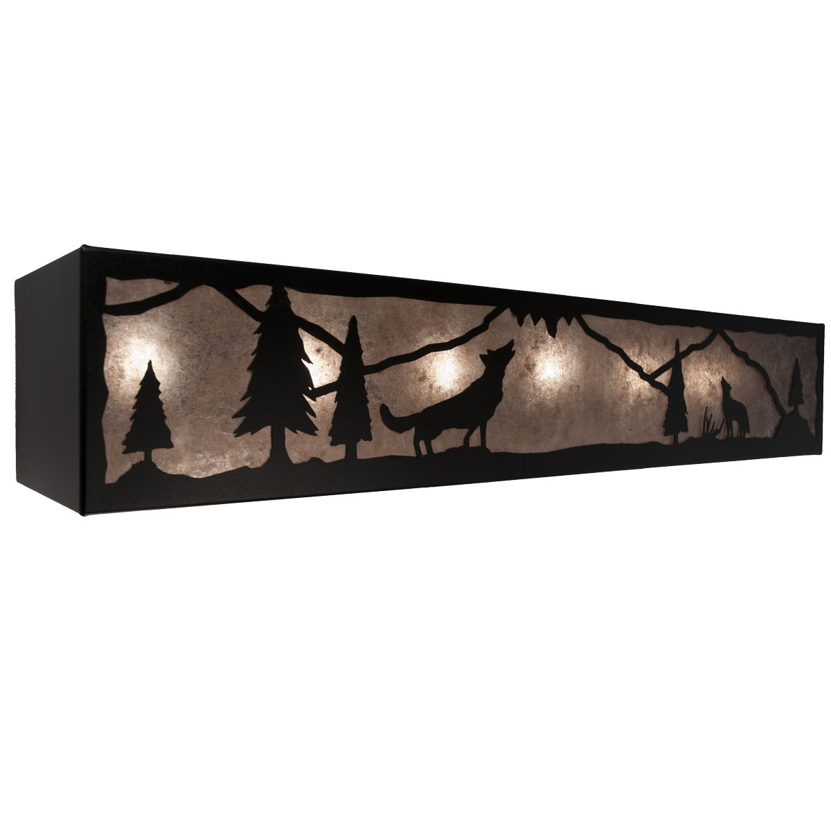Black Buckskin Gulch Wolf Vanity Light