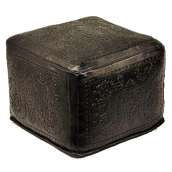 Black Colonial Large Ottoman