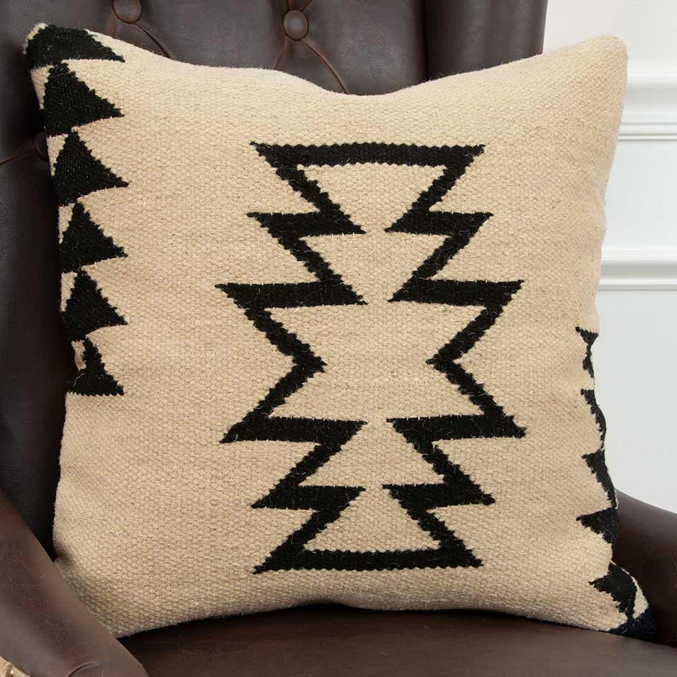 Black & Cream Geometric Pillow