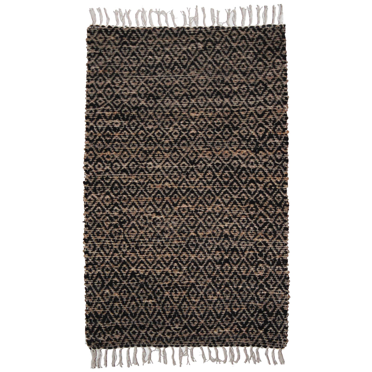 Black Hemp Diamond Rug - 4 x 6