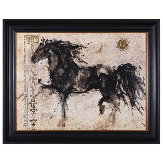 Black Horse In Motion Framed Art