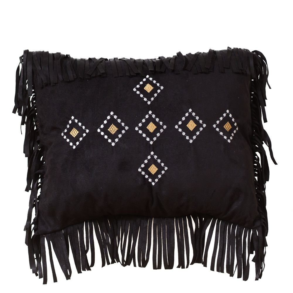 Black Diamond Embroidered Fringed Pillow