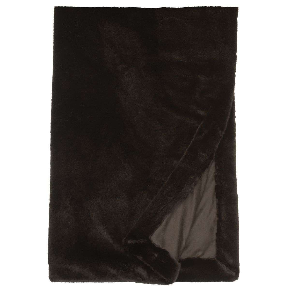 Black Sable Faux Fur Throw
