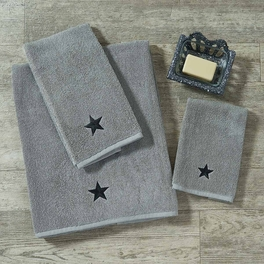 Black Star on Gray Towel Collection