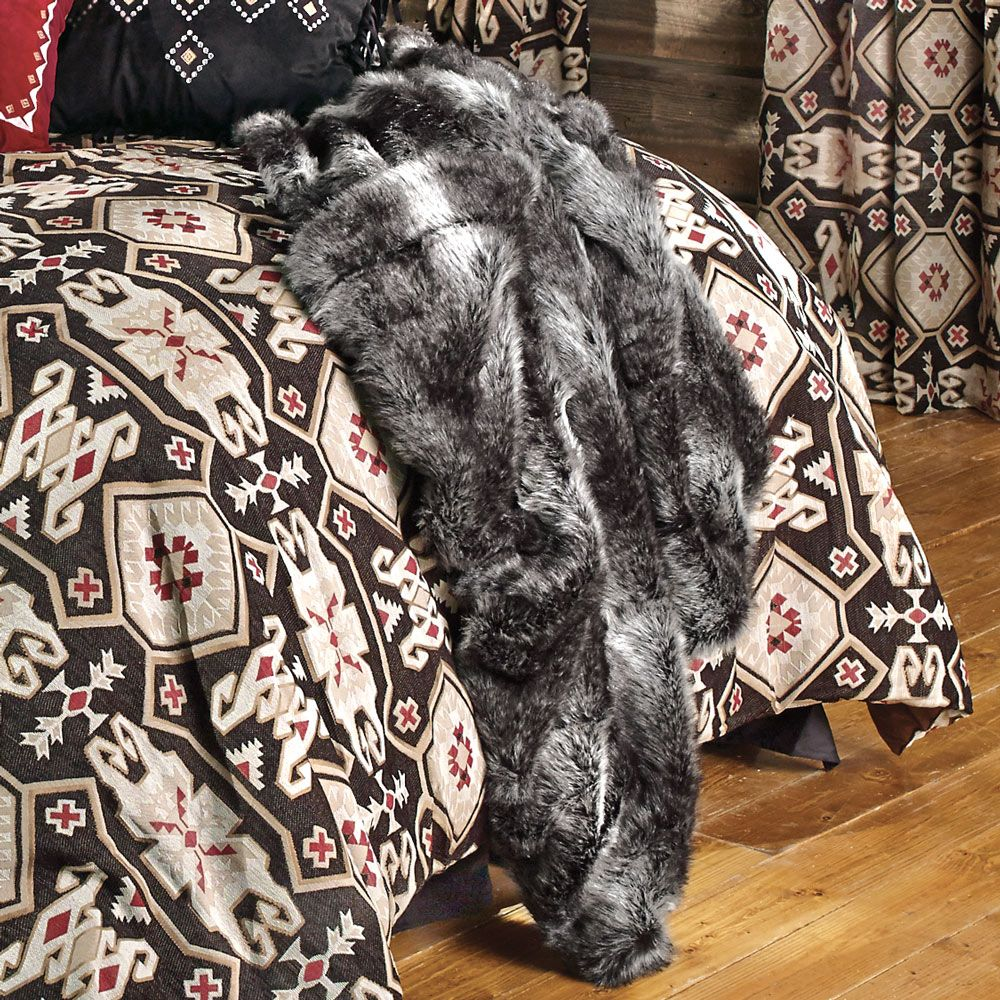 Black Wolf Faux Fur Throw