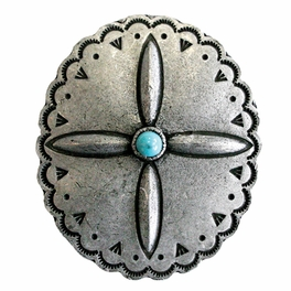 Blackened Silver Oval Flower Napkin Rings with Turquoise Center - Set of 4