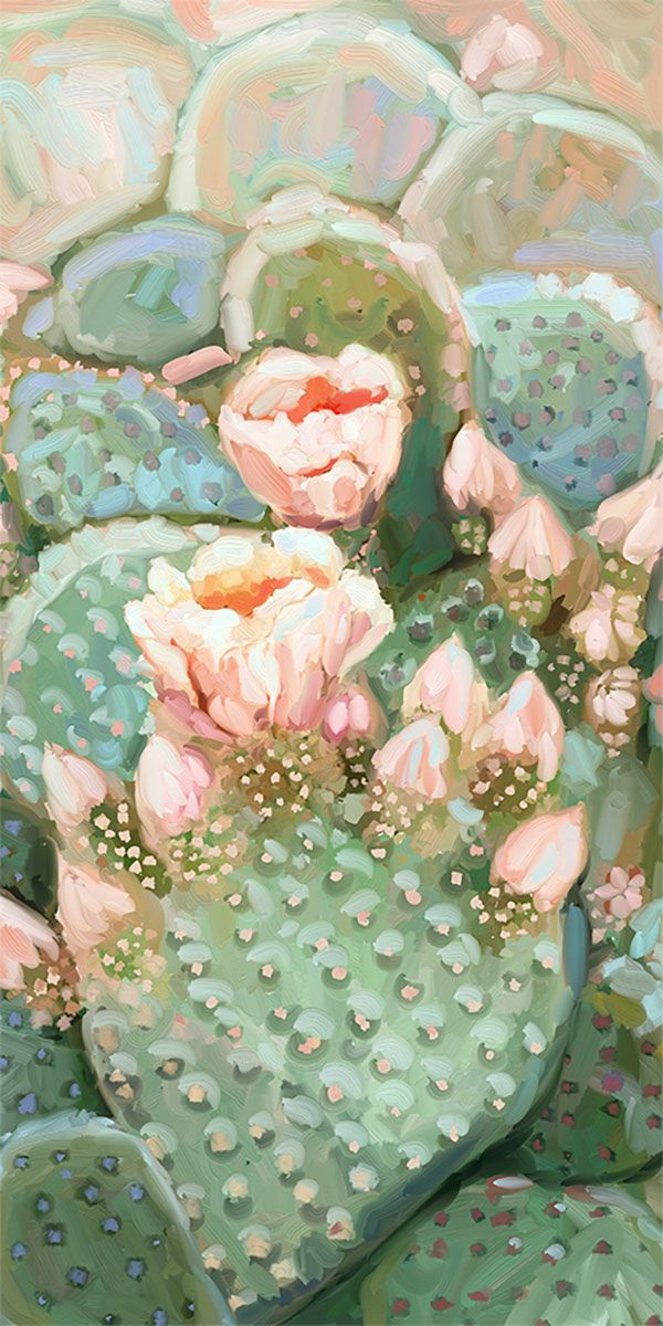 Blooming Cactus Canvas Wall Art