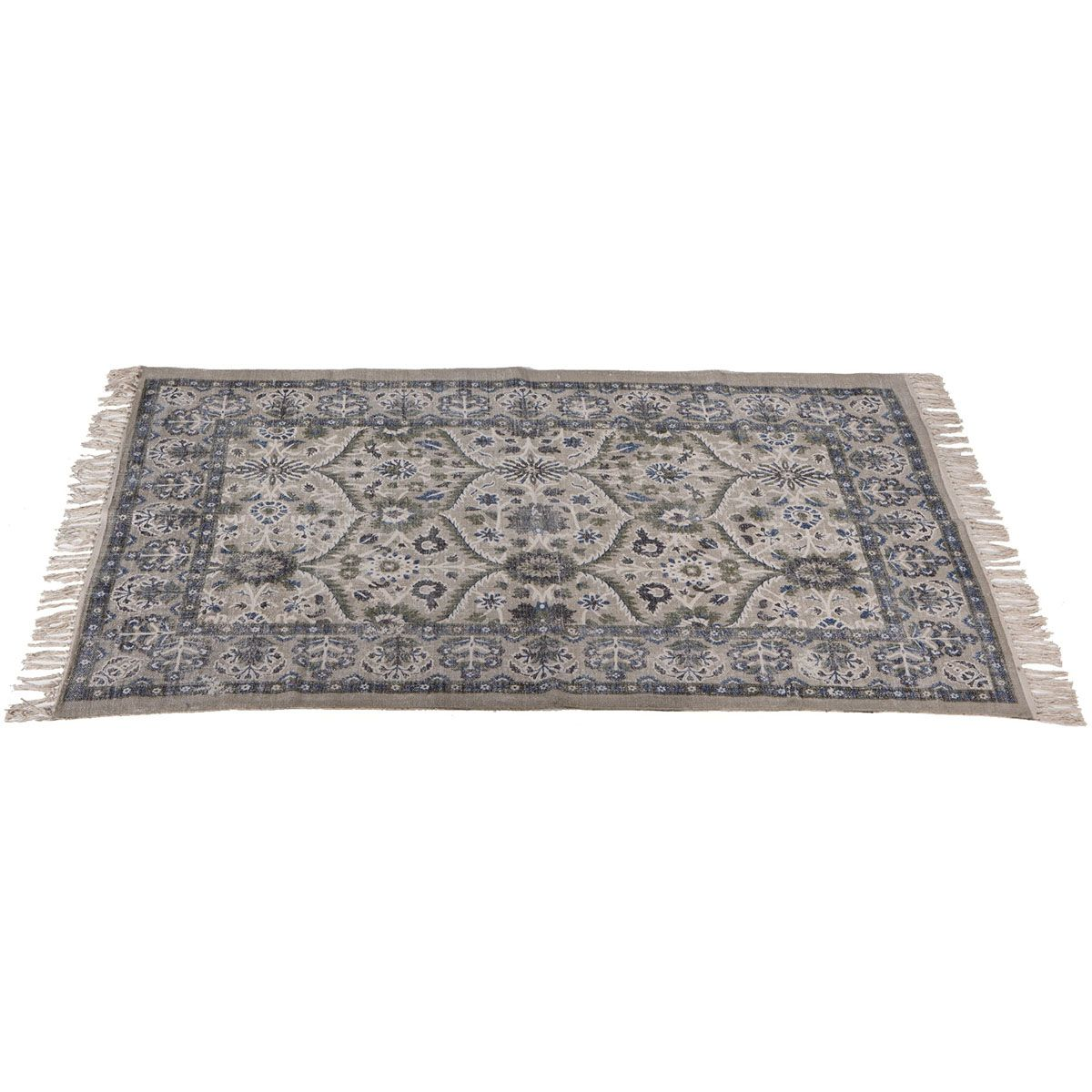 Blue and Gray Fringed Rug