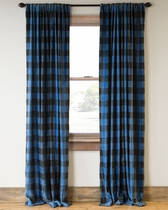 Blue Buffalo Check Drapes