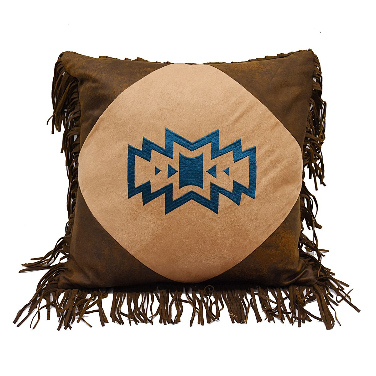 Blue Embroidery Fringe Pillow