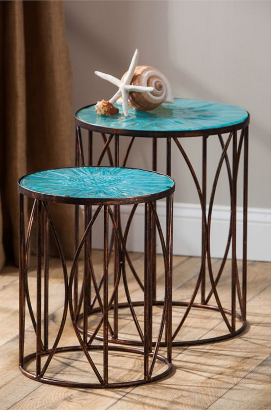Blue Glass Tables - Set of 2
