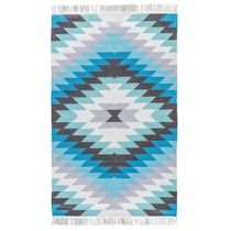 Blue Sawtooth Burst Indoor/Outdoor Rug - 2 x 3