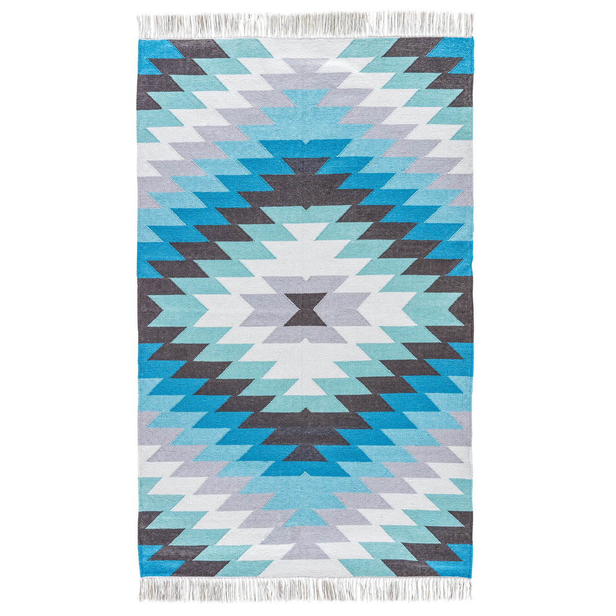 Blue Sawtooth Burst Indoor/Outdoor Rug - 4 x 6