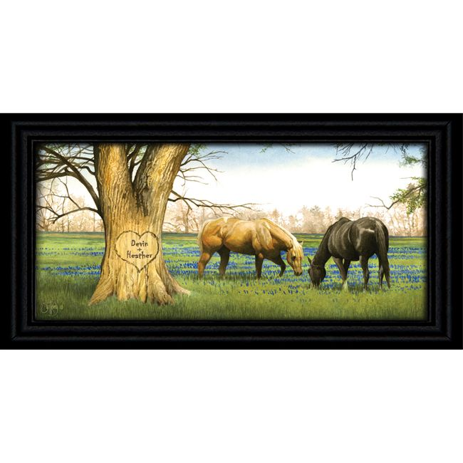 Bluebonnet Spring Personalized Horse Print - Medium
