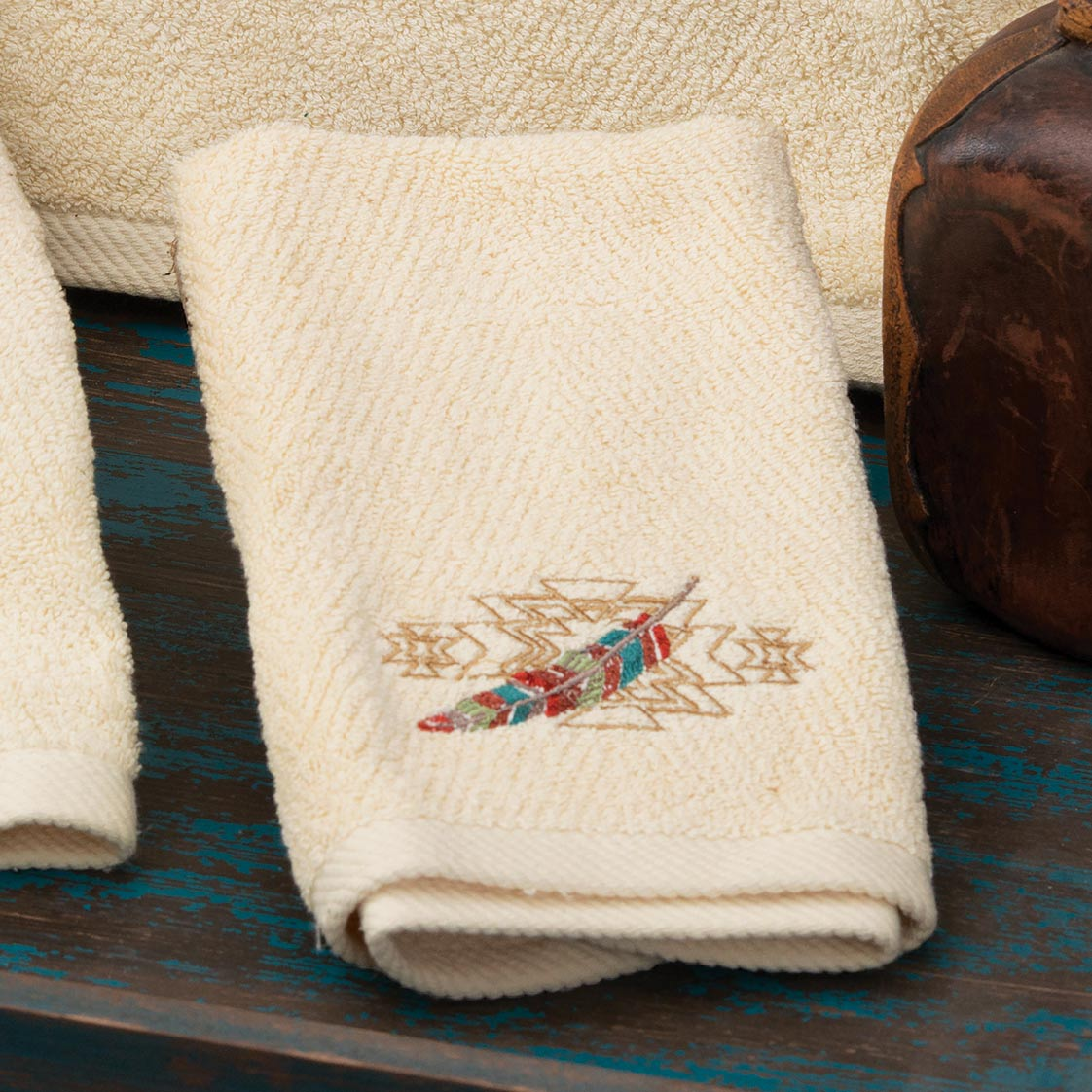 Embroidered Feathers Fingertip Towel