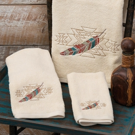 Embroidered Feathers Towel Collection