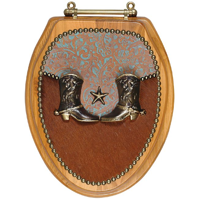 Boot Cowhide & Leather Toilet Seat - Elongated