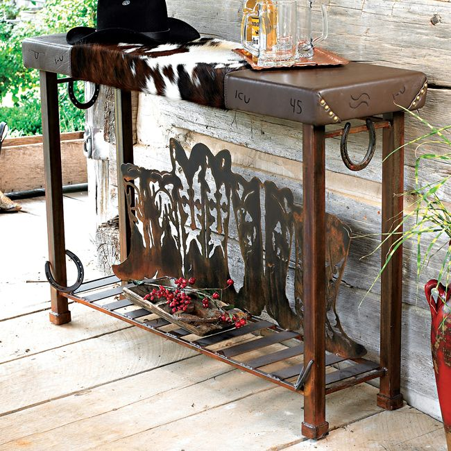 Boot Table with Cowhide