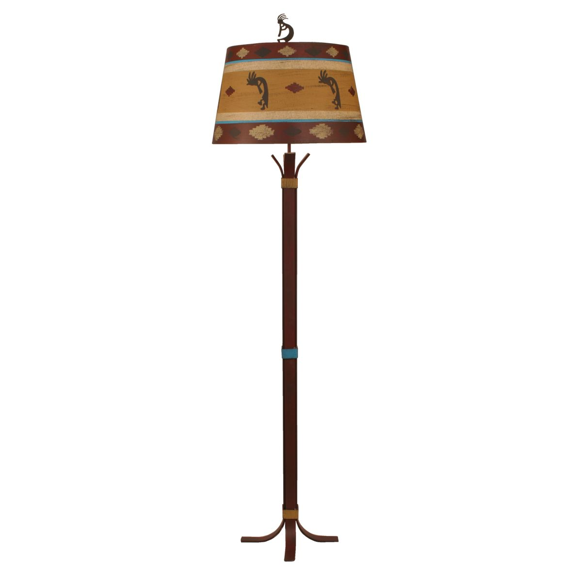 Bound Rod Iron Floor Lamp with Kokopelli Shade