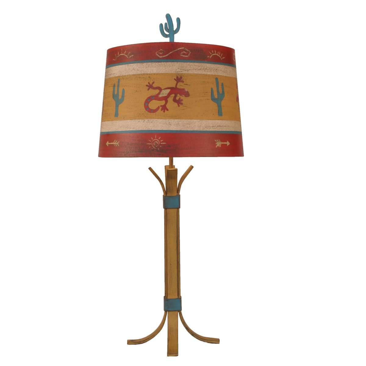 Bound Rod Iron Table Lamp with Cactus Shade