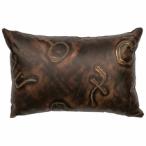 Brands Embossed Leather Rectangle Pillow with Fabric Back