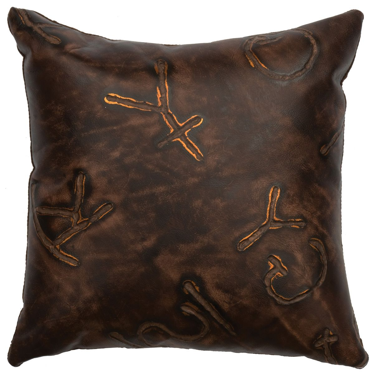 Brands Embossed Leather Square Pillow