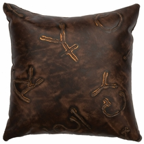 Brands Embossed Leather Square Pillow with Fabric Back