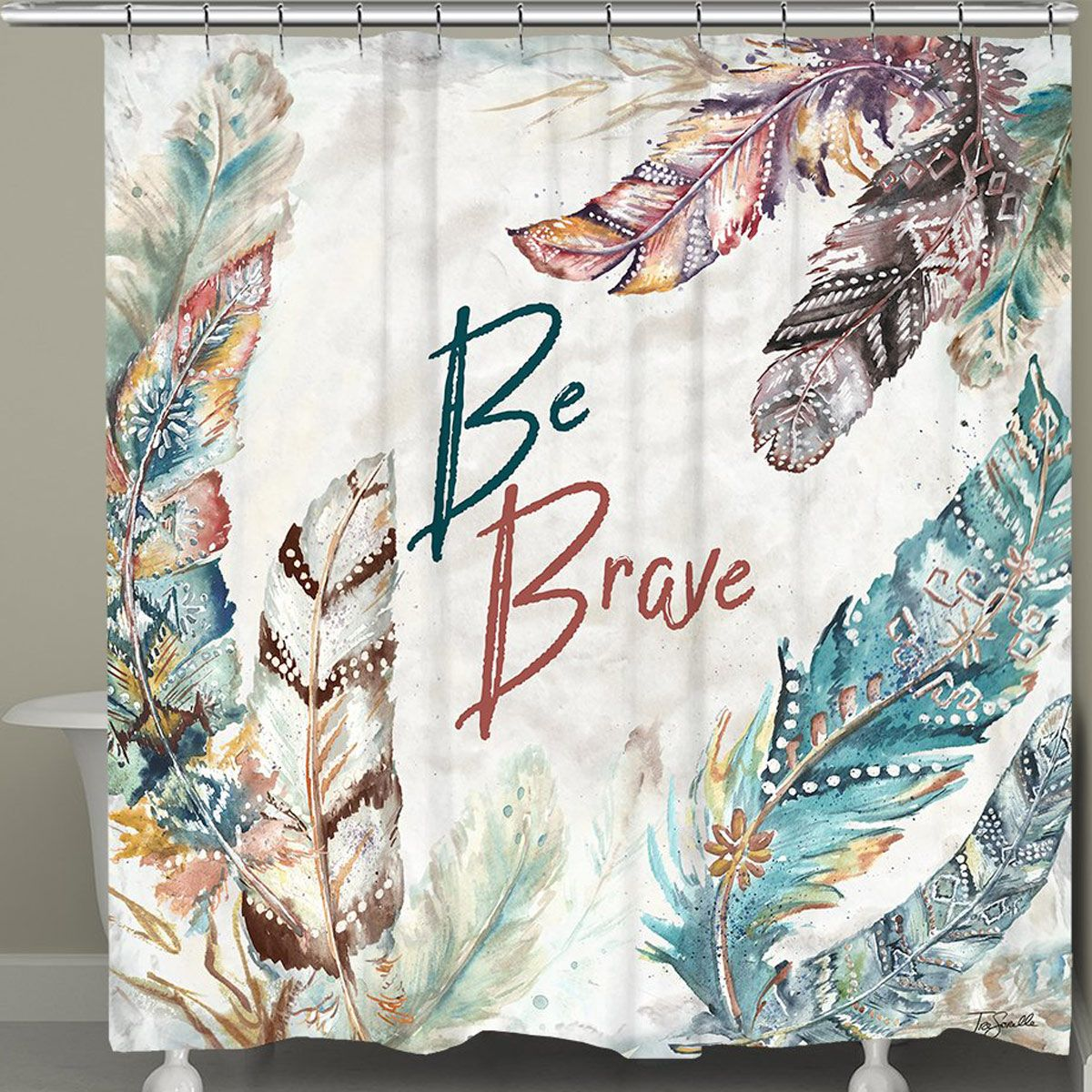 Brave Feathers Shower Curtain