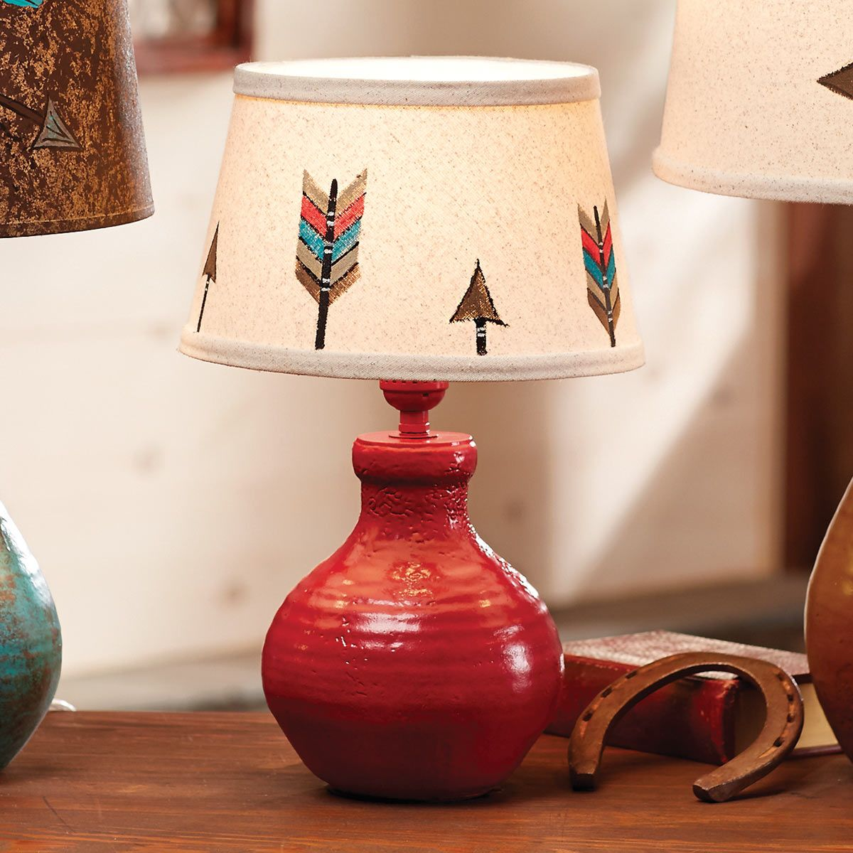 Brick Red Arrow Table Lamp