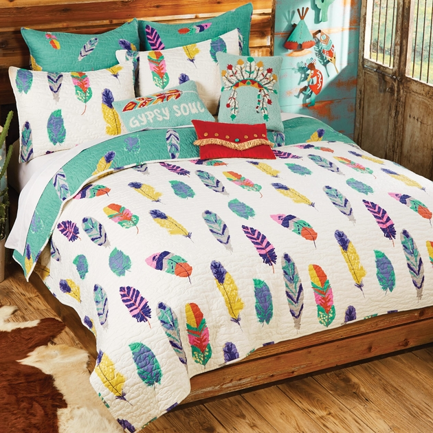 Falling Feathers Quilt Set King