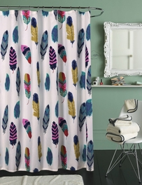 Bright Falling Feathers Shower Curtain