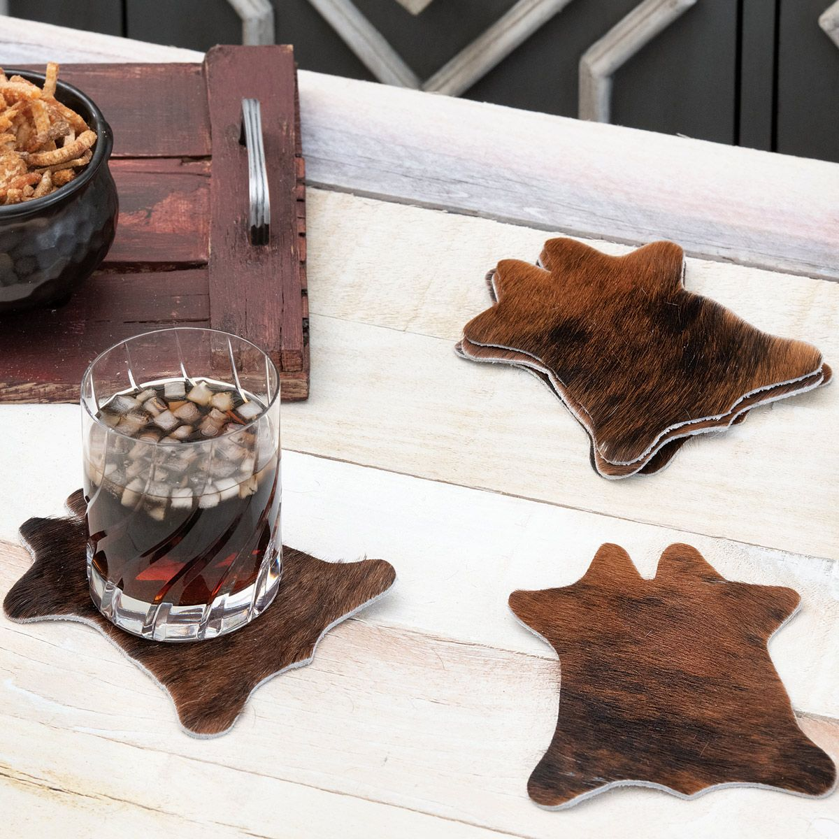 Brindle Cowhide Coasters - Set of 6