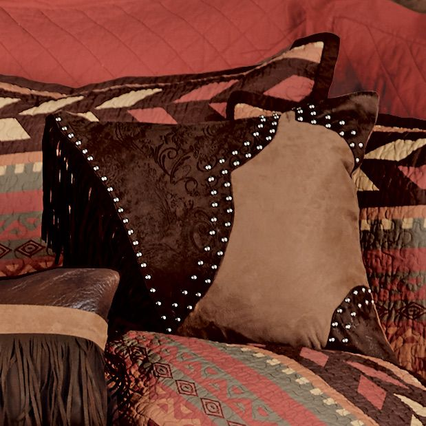 Broken Arrow Studded Faux Suede Pillow with Fringe