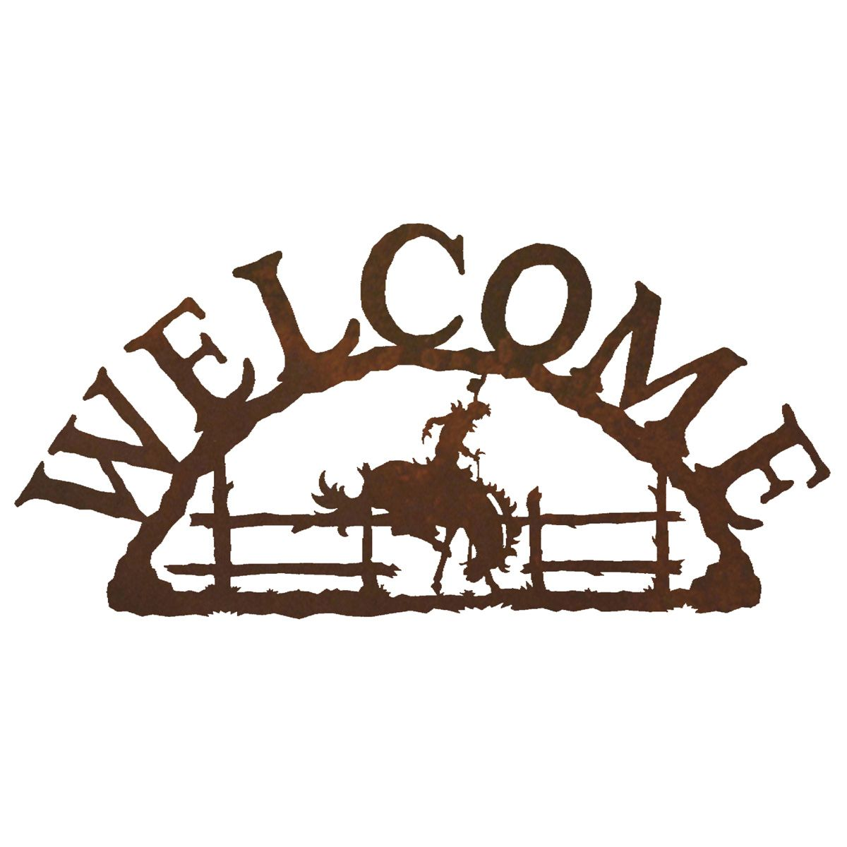 Bronco Welcome Metal Wall Hanging