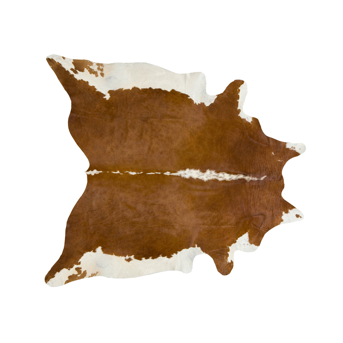 Brown and White Regular Cowhide Rug - Medium