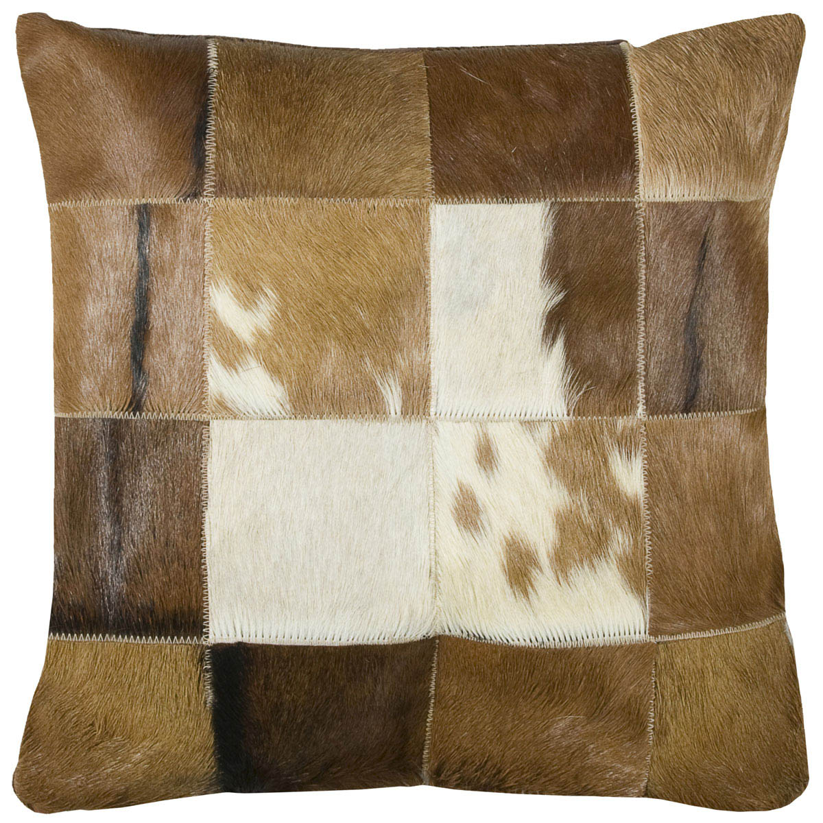 Brown Cowhide Patchwork Pillow