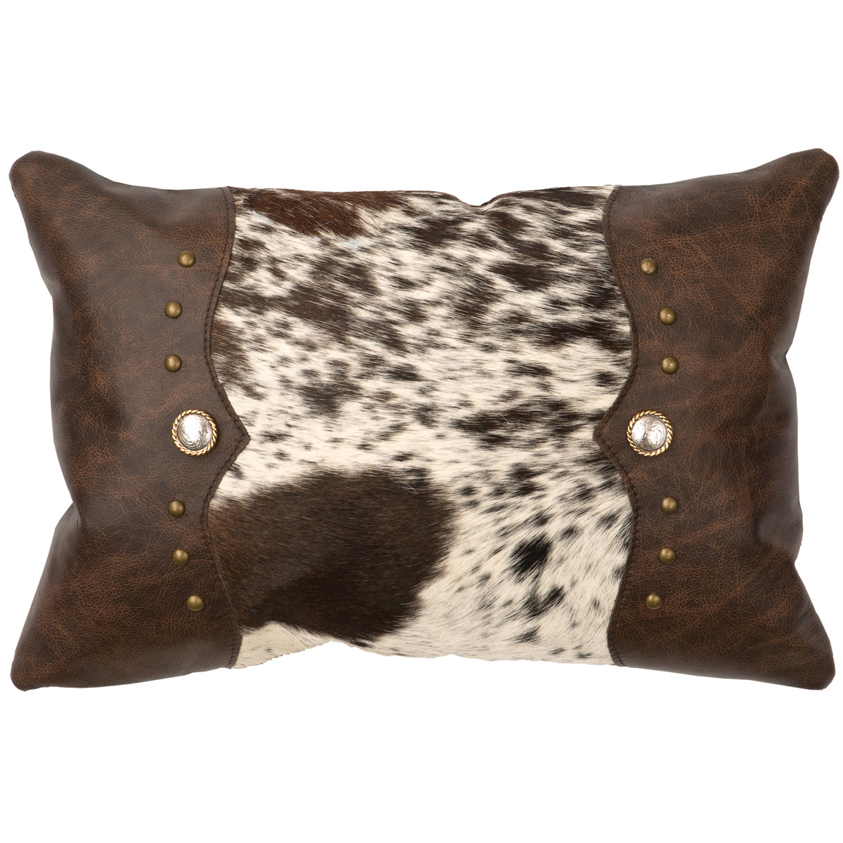 Brown Speckled Cowhide & Leather Pillow - Leather Back
