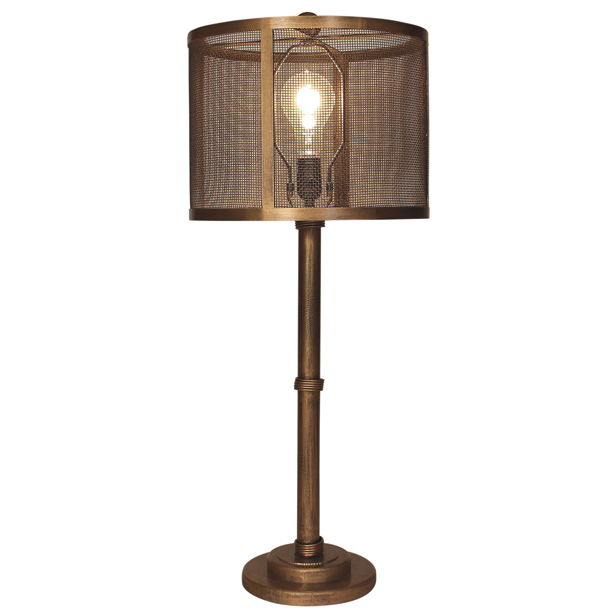 Brushed Gold Wire Wrapped Table Lamp with Metal Mesh Shade