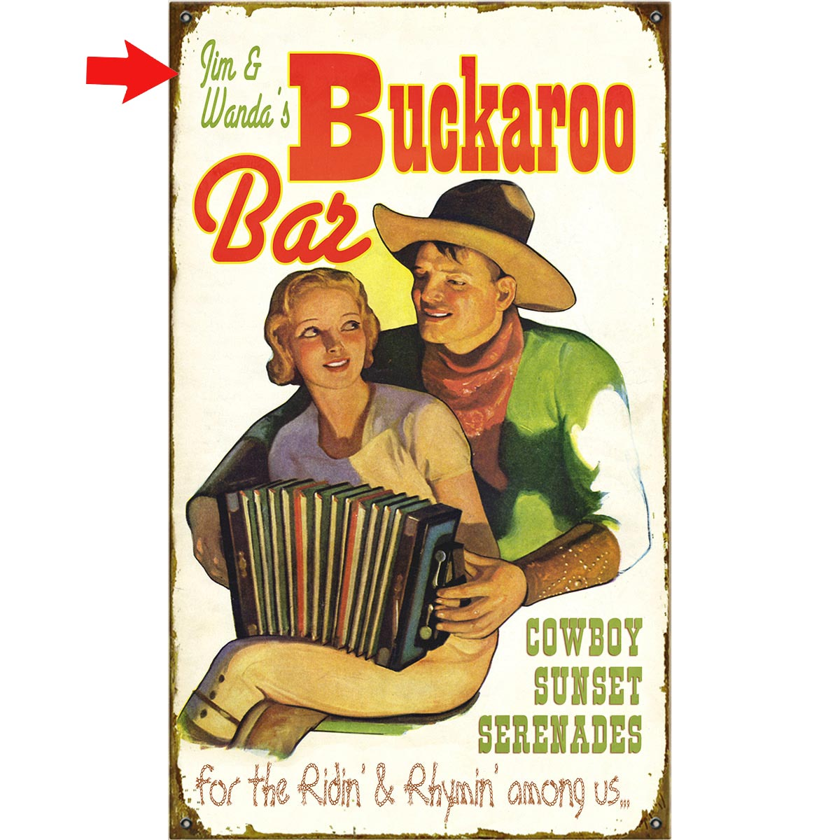 Buckaroo Bar Personalized Sign - 28 x 48